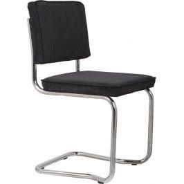 Černá čalouněná jídelní židle ZUIVER RIDGE KINK RIB