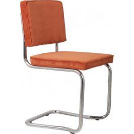 Oranžová čalouněná jídelní židle ZUIVER RIDGE KINK RIB