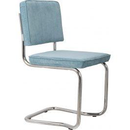 Modrá čalouněná jídelní židle ZUIVER RIDGE KINK RIB