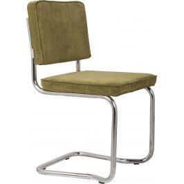 Zelená čalouněná jídelní židle ZUIVER RIDGE KINK RIB