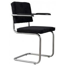 Černá čalouněná židle ZUIVER RIDGE RIB s područkami