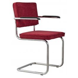 Červená čalouněná židle ZUIVER RIDGE RIB s područkami