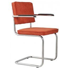 Oranžová čalouněná židle ZUIVER RIDGE RIB s područkami