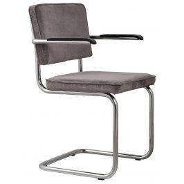 Šedá čalouněná židle ZUIVER RIDGE RIB s područkami