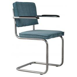 Modrá čalouněná židle ZUIVER RIDGE RIB s područkami