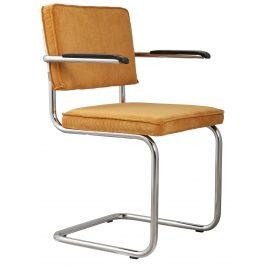 Žlutá čalouněná židle ZUIVER RIDGE RIB s područkami