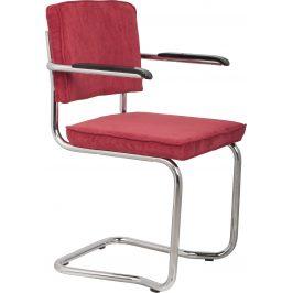 Červená čalouněná židle ZUIVER RIDGE KINK RIB s područkami