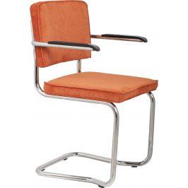 Oranžová čalouněná židle ZUIVER RIDGE KINK RIB s područkami