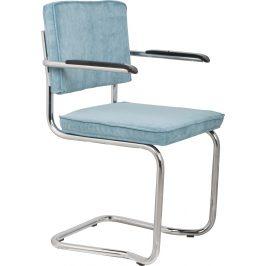 Modrá čalouněná židle ZUIVER RIDGE KINK RIB s područkami