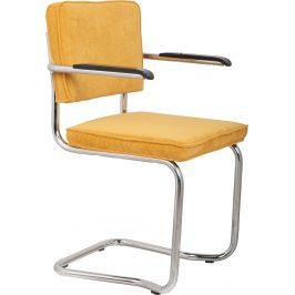 Žlutá čalouněná židle ZUIVER RIDGE KINK RIB s područkami
