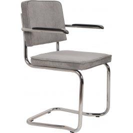 Světle šedá čalouněná židle ZUIVER RIDGE KINK RIB s područkami