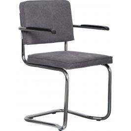 Šedá židle ZUIVER RIDGE KINK VINTAGE s područkami