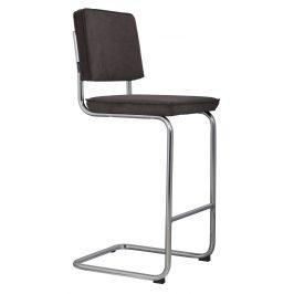 Šedá čalouněná barová židle ZUIVER RIDGE RIB