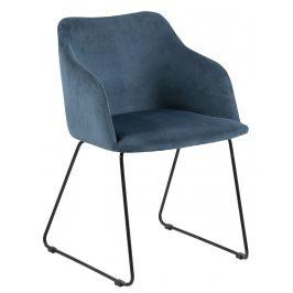 SCANDI Tmavě modrá sametová jídelní židle Audrey