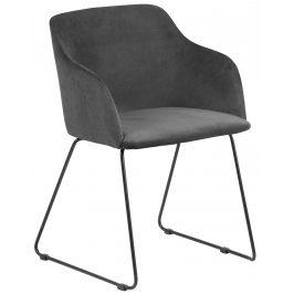 SCANDI Šedá sametová jídelní židle Audrey