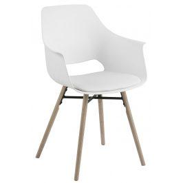 SCANDI Bílá čalouněná plastová jídelní židle Gamora