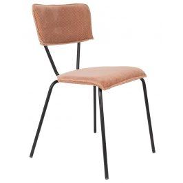 Růžová sametová jídelní židle DUTCHBONE Melonie