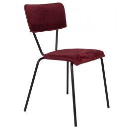 Červená sametová jídelní židle DUTCHBONE Melonie