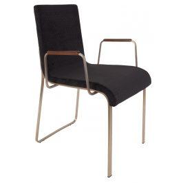 Černá čalouněná jídelní židle DUTCHBONE Flor s područkami
