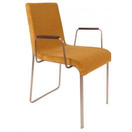 Okrově žlutá jídelní židle DUTCHBONE Flor s područkami