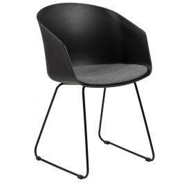 SCANDI Černá plastová jídelní židle Parley s černou podnoží