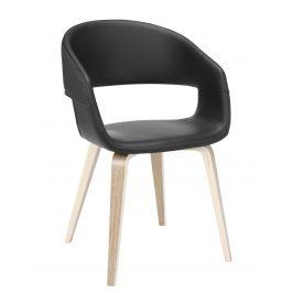SCANDI Černá čalouněná jídelní židle Damaro s dubovou podnoží