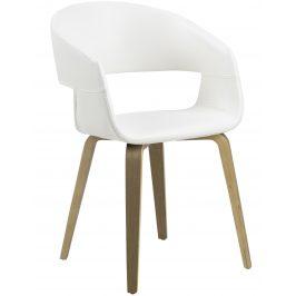 SCANDI Bílá čalouněná jídelní židle Damaro s topolovou podnoží
