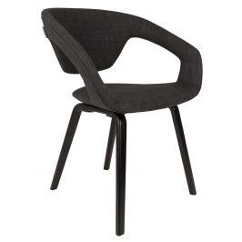 Tmavě šedá čalouněná jídelní židle ZUIVER FLEXBACK s černou podnoží