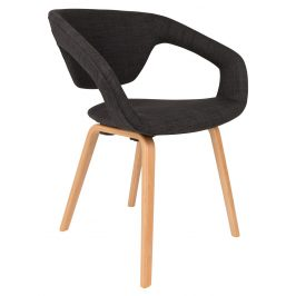 Tmavě šedá čalouněná jídelní židle ZUIVER FLEXBACK s přírodní podnoží