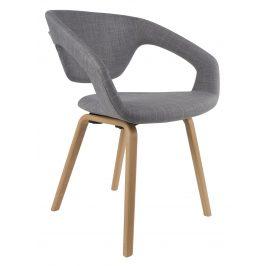 Šedá čalouněná jídelní židle ZUIVER FLEXBACK s přírodní podnoží