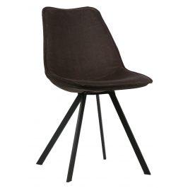 Hoorns Antracitově šedá sametová jídelní židle Viner