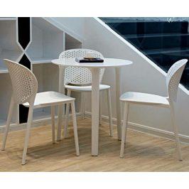 Culty Gold Bílá plastová jídelní židle Darli