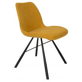 Žlutá čalouněná jídelní židle ZUIVER BRENT