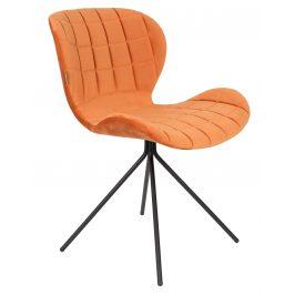 Oranžová sametová jídelní židle ZUIVER OMG