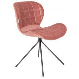 Růžová sametová jídelní židle ZUIVER OMG