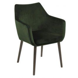 SCANDI Tmavě zelená sametová židle Marte s područkami