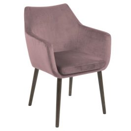 SCANDI Starorůžová sametová židle Marte s područkami
