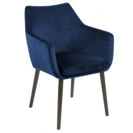 SCANDI Tmavě modrá sametová židle Marte s područkami