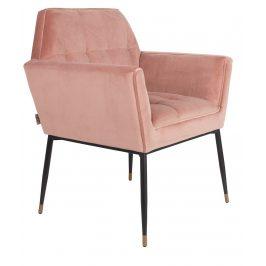Růžová sametová jídelní židle DUTCHBONE Kate