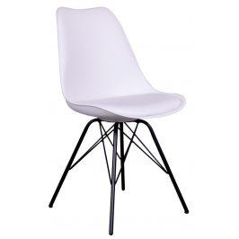 Nordic Living Bílá plastová jídelní židle Marcus s černou podnoží