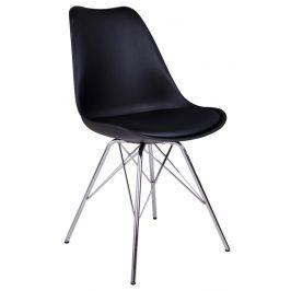 Nordic Living Černá plastová jídelní židle Marcus s chromovanou podnoží