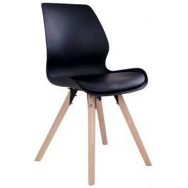 Černá plastová jídelní židle Nordic Living Joona s přírodní podnoží