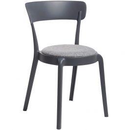 Culty Gold Tmavě šedá plastová jídelní židle Sali s látkovým sedákem