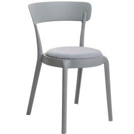 Culty Gold Světle šedá plastová jídelní židle Sali s látkovým sedákem