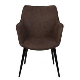 Culty Hnědá čalouněná židle Ledea s područkami