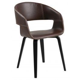 SCANDI Hnědá čalouněná židle Damaro s černou podnoží