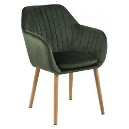 SCANDI Tmavě zelená sametová jídelní židle Milla s prošíváním Židle do kuchyně
