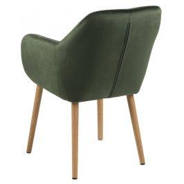 SCANDI Tmavě zelená sametová jídelní židle Milla s prošíváním