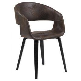SCANDI Hnědá látková židle Damaro s ořechovou podnoží