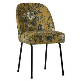 Hoorns Žlutá sametová židle Tergi s květinovým vzorem